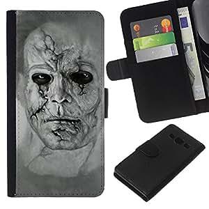 A-type (Zombie Art Dibujo Retrato Hombre cara llena de cicatrices) Colorida Impresión Funda Cuero Monedero Caja Bolsa Cubierta Caja Piel Card Slots Para Samsung Galaxy A3