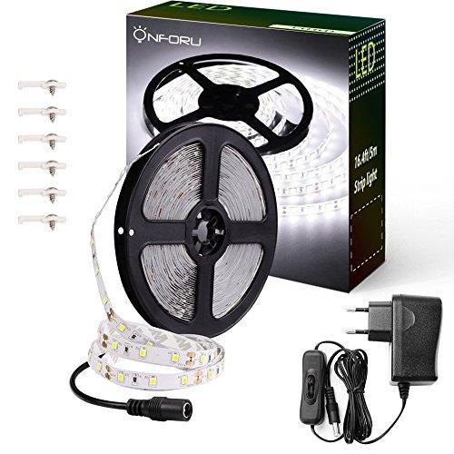 Onforu Kit de 5M Ruban LED Blanc Froid, Bande LED 12V, 300 LED, 6000K Lumière Blanche, Bande LED Flexible et Autocollante, Eclairage Indirect pour Vitrine, Dressing, Escalier, Etagères, Présentoir