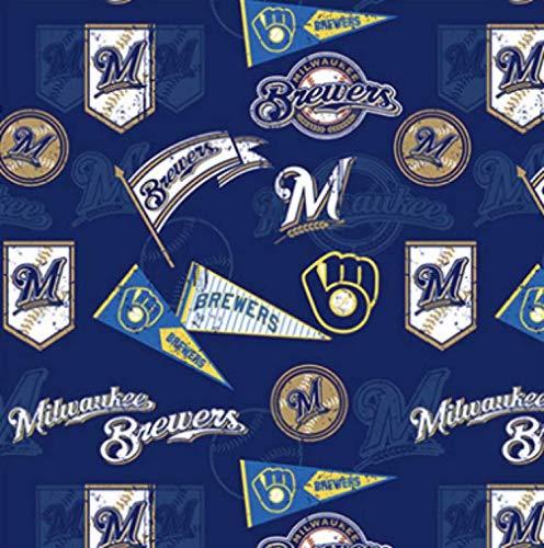 - Fleece Milwaukee Brewers Vintage Navy Blue MLB Pro Baseball Sports Team Fleece Fabric Print by The Yard (A412.07)