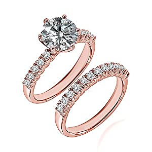 1.3 Carat G-H I2-I3 Diamond Engagement Wedding Anniversary Halo Bridal Ring Set 14K Rose Gold