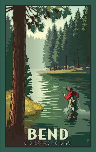 Northwest Art Mall Bend Oregon Fisherman Artwork by Paul B. Leighton, 11-Inch by - Bend Oregon Mall