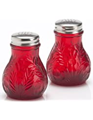 Salt Pepper Shaker Set Inverted Thistle Pattern Red Mosser Glass American Made