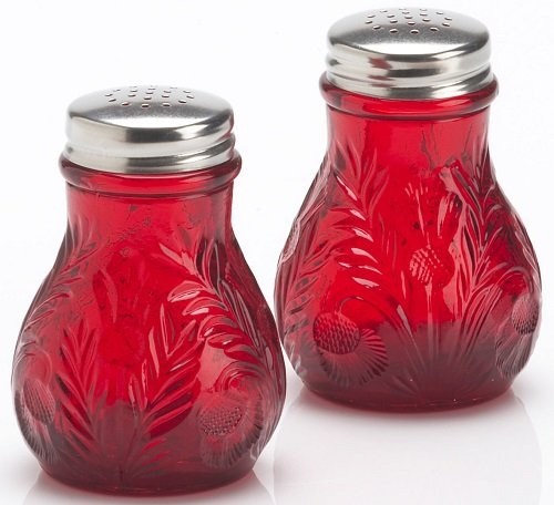 Salt & Pepper Shaker Set - Inverted Thistle Pattern - Red - Mosser Glass - American Made (Pattern Glass Red)