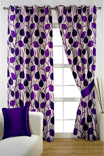 HOMEC Trendy Printed Curtain Set of 2 (Size – Window 46 X 60 inch/Color – Wine)