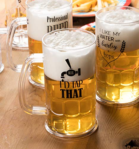Plastic Beer Mugs - 6-Pack Shatterproof Classic Beer Mugs with Handle and Funny Drinking Quotes for Oktoberfest Themed Parties, Birthday, Beer Tasting, 3 Assorted Designs, 17-Ounce by Juvale (Image #2)