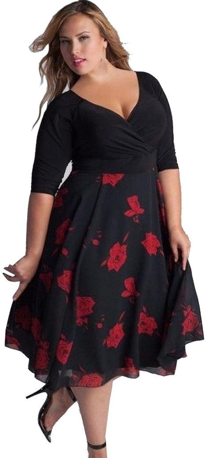 Ronamick kleid verfügbaren Angebote,Kleider Knielang v Ausschnitt  Rockabilly Kleid lang große größen cocktailkleider Swing Petticoat Blumen