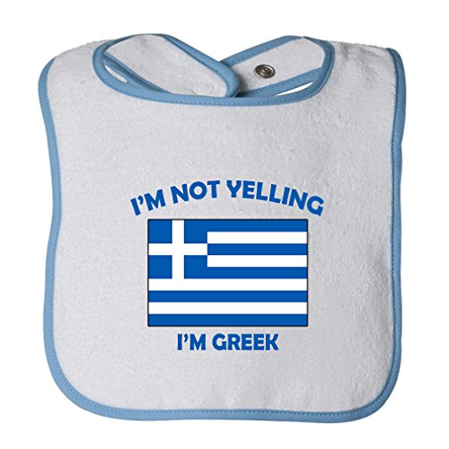 (Cute Rascals I'M Not Yelling I Am Greek Greece Tot Contrast Trim Terry Bib White/Blue)