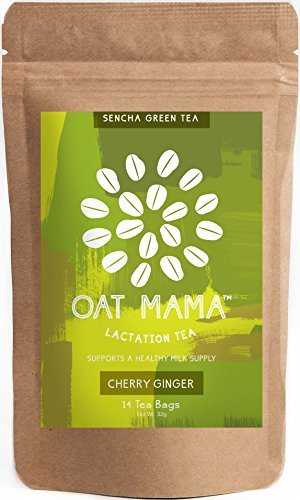 Oat Mama Lactation Tea - Organic Cherry Ginger Herbal Blend, Supports a Healthy Milk Supply in Breastfeeding Moms, Delivers a Beautifying Boost of Antioxidants, With Fenugreek Leaf, 14 count