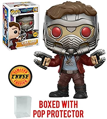 Funko Pop Marvel: Guardians of the Galaxy Vol. 2 - Star Lord Chase Variant Limited Edition Vinyl Figure (Bundled with Pop Box Protector Case)