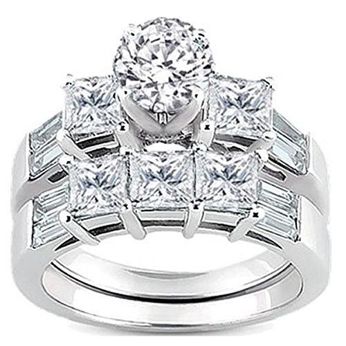 - Dazzlingrock Collection 3.10 Carat (ctw) 14k Round, Princess & Baguette Diamond Ladies Bridal 3 Stone Engagement Ring With Matching Wedding Band Set 3 1/10 CT, White Gold, Size 7