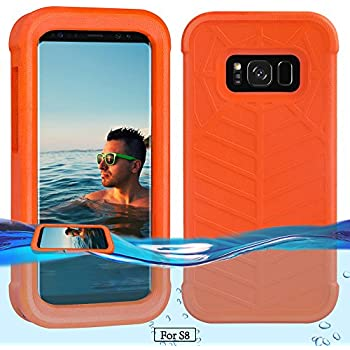 Temdan Galaxy S8 Floating Case with a 0.2mm clear&thin Waterproof Bag Shockproof Lifejacket Case for Samsung Galaxy S8 (5.8inch) -Orange