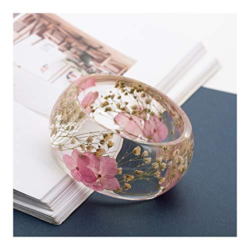 Wide Resin Bangle - IDesign Pink Nature Dry Flower Resin Bracelet Bangle for Women Girls in Spring Summer
