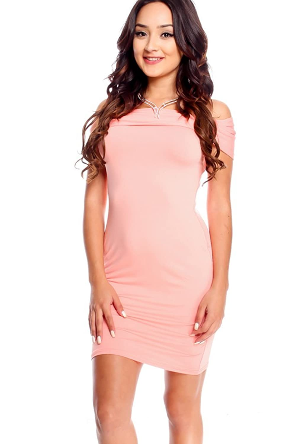 LOLLI COUTURE OFF SHOULDER PENCIL STYLE CASUAL DRESS
