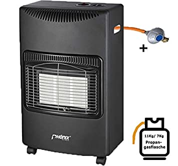 Estufa de gas de cerámica de Phömix, 4,2 kW, calentador catalítico, incluyeconjunto de manguera de gas y reductor de presión: Amazon.es: Hogar