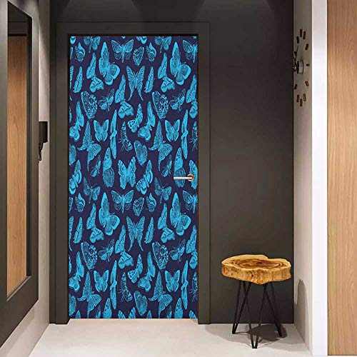 Onefzc Automatic Door Sticker Indigo Spring Time Sketchy Hand Drawn Butterflies Bugs Dragonfly Art Print Easy-to-Clean, Durable W23.6 x H78.7 Pale Blue and Dark Blue (Best Time To Fly To Alaska)