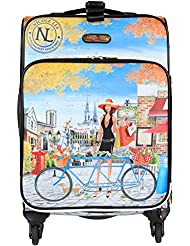 Nicole Lee Womens 20 4 Wheels Expandable Carry-on Luggage Paris City Print, Bicycle