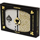 Copag 1546 100% Plastic Poker Playing Cards, Jumbo Index Black & Gold Backs Twin Pack by Copag