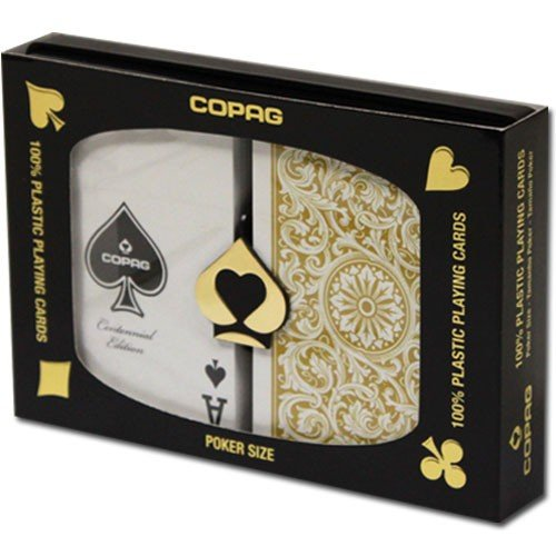 Copag 1546 100% Plastic Poker Playing Cards, Jumbo Index Black & Gold Backs Twin Pack by Copag by Copag