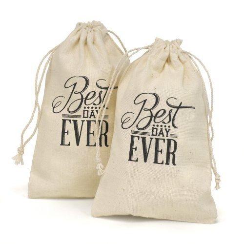 Hortense B. Hewitt 31015 Cotton Favor Bags, 4 x 6-Inch, Best Day Ever