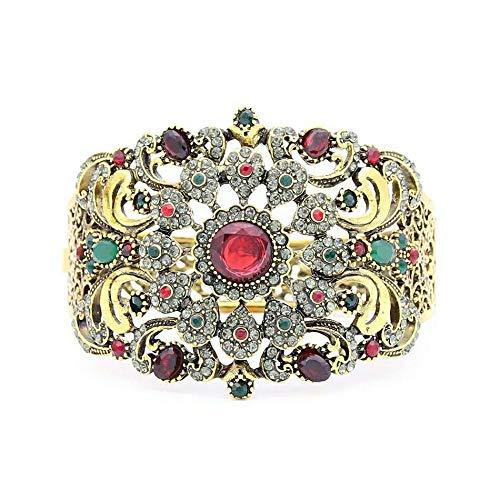 Tanakorn Women Flower Resin Bangle Cuff Arabesque Antique Gold Plat Vintage Jewelry India Bracelet Gypsy Ethnic Festival Jewelry(Red)