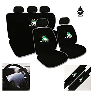 12 piece auto interior gift set 2 frog design front universal size low back bucket. Black Bedroom Furniture Sets. Home Design Ideas