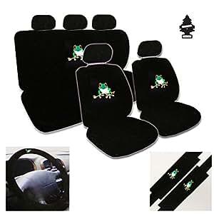 12 piece auto interior gift set 2 frog design front universal size low back bucket. Black Bedroom Furniture Sets. Home Design Ideas