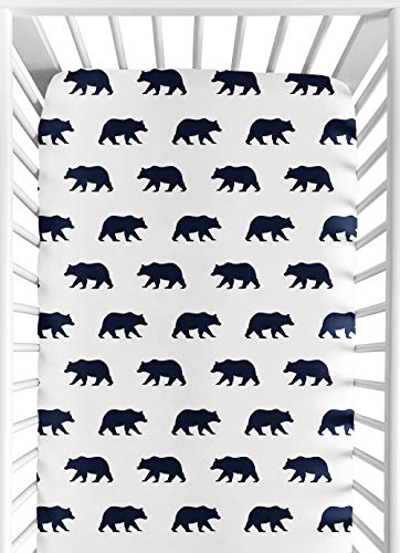 Sweet Jojo Designs Navy Blue and White Bear Print Baby or Toddler Fitted Crib Sheet for Big Bear Collection