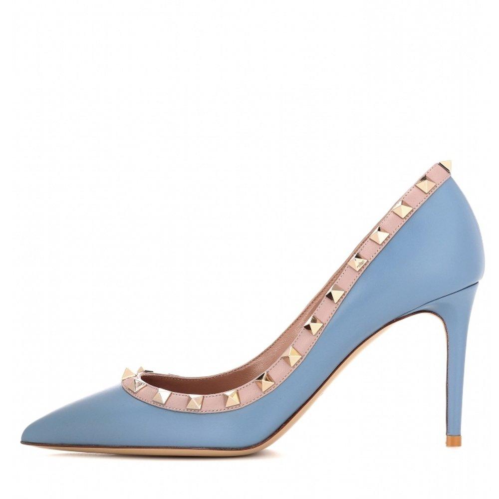 Chris-T Women's Studded Stiletto High Heels Rivets Shoes Pointed Toe Slip On Pumps 5-14 US B07CXS7SWS 5 B(M) US|Blue Matte
