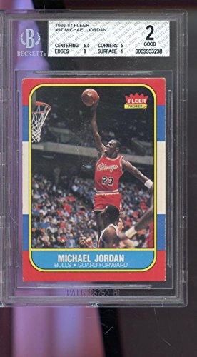 1986 Fleer Basketball Cards - 1986-87 Fleer #57 Michael Jordan Bulls ROOKIE RC BGS 2 Graded Basketball Card