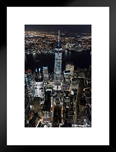 (Poster Foundry Aerial View Freedom Tower New York City NYC Photo Art Print Matted Framed Wall Art 20x26 inch)