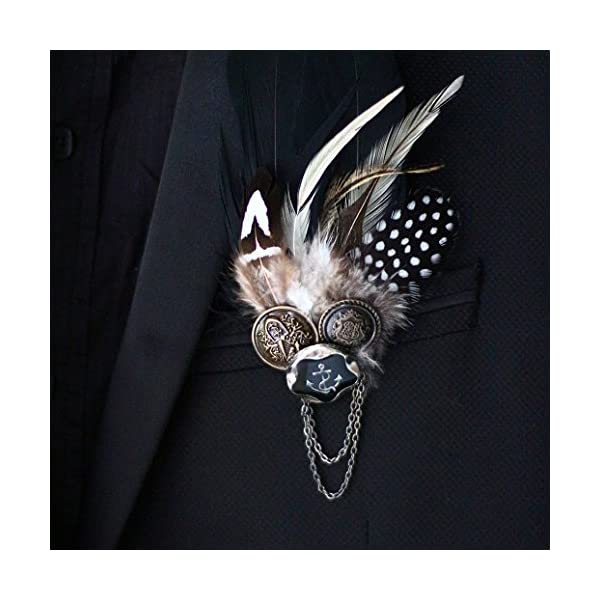 Punk feather brooch black men, master of ceremonies, the groom, best man, banquets, corsages, feathers, buttons, collar flower