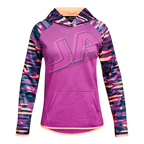 - Under Armour Girls Armour Fleece Logo Hoodie, Fluo Fuchsia (565)/Peach Horizon, Youth Medium