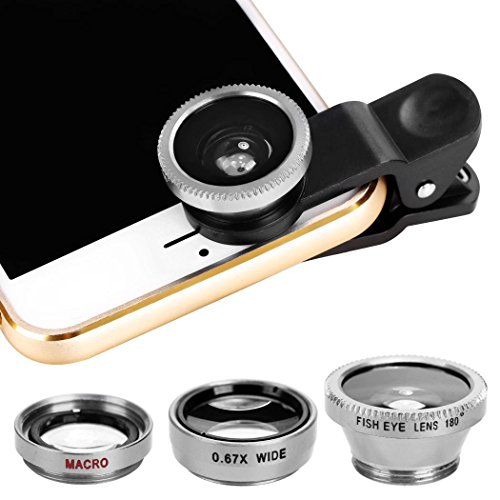 Dongba Universal 3 in1 Fisheye Wide Angle Macro Camera Lens Kit Clip On iPhone or Other Android Smartphones (Silver)