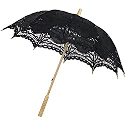 Lace Cotton Wedding Umbrella, Gsha Embroidery Sun Parasol Umbrella Bridal Accessory