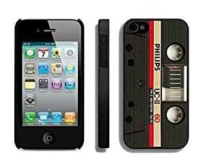 Apple Iphone 4s Case Durable Soft Silicone TPU Vintage Audio Cassette Elegant Black Cell Phone Case Cover for Iphone 4