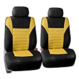 yellow and black car seat covers - FH GROUP FH-FB068102 Premium 3D Air Mesh Seat Covers Pair Set (Airbag Compatible), Yellow / Black Color- Fit Most Car, Truck, Suv, or Van