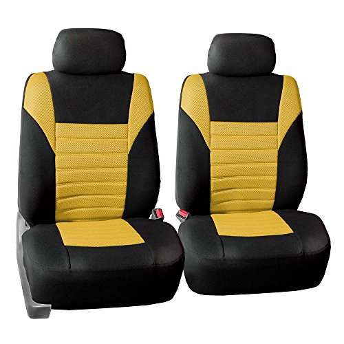 FH GROUP FH-FB068102 Premium 3D Air Mesh Seat Covers Pair Set (Airbag Compatible), Yellow / Black Color- Fit Most Car, Truck, Suv, or ()
