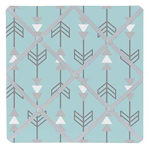 Sweet Jojo Designs Turquoise Blue and Gray Earth and Sky Arrow Print Fabric Memory/Memo Photo Bulletin Board by Sweet Jojo Designs