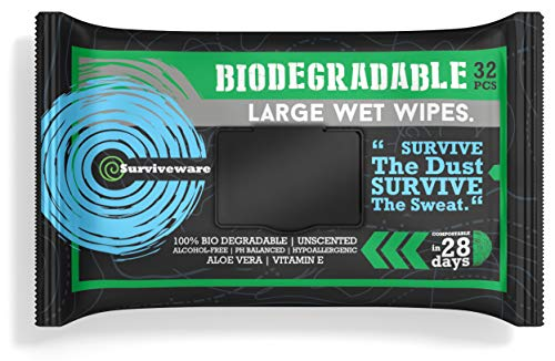 Surviveware Biodegradable Wet Wipes Large Pack - Rinse Free Shower Wipes for Post Workouts, Camping, Backpacking, Outdoors and Hiking