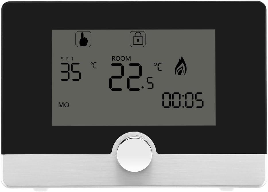 Termostato Programable Digital 7 Días Regulador Inteligente De Control De Temperatura Programable Con Luz Azul y Pantalla Grande Para Sistema De Calefacción De Caldera De Pared(Negro)