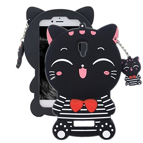 Anya 3D Cute Lovely Cartoon Animal Series Style Cute Bow Tie Stripe Lucky Fortune Plutus Cat Soft Rubber & Silicone Shell Case Cover for Lenovo A2010 Black