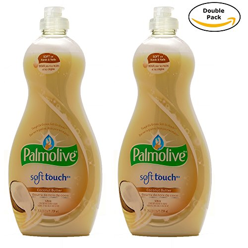 Detergent Dishwashing Palmolive (Palmolive Soft on Hands & Soft on Nails Utra Soft Touch With Coconut butter Dishwashing Liquid Soap Detergent, 25 Oz Twin Pack, (25 Oz x 2, Total 50 Oz))