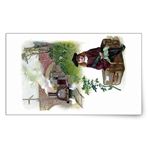 (Lancy's Artwork Victorian Girl Waiting for Train Rectangular Sticker - Sticker Graphic - Auto, Wall, Laptop, Cell, Truck Sticker for Windows, Cars, Trucks)