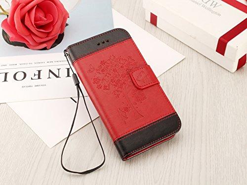 iPhone 6/6S Brieftache,Flip Handyhülle für iPhone 6 4.7 Zoll, Aeeque iPhone 6 6S (4.7) [Einzigartig Palme Blumen Augen] Kartenfach Standfunktion mit Abnehmbar Handy Lanyard und Weich Silikon Innere Sc Spleiß Design Schwarz Rot