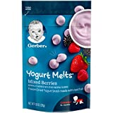 Gerber Yogurt Melts Freeze-Dried Yogurt Snack made with real fruit, Mixed Berries, 1 oz (Pack of 7)