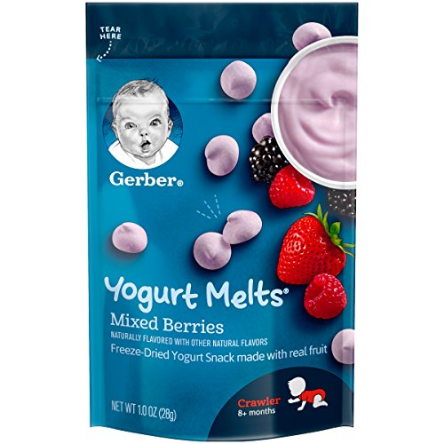 Gerber Yogurt Melts Freeze-Dried Yogurt Snack made with real fruit, Mixed Berries, 1 oz