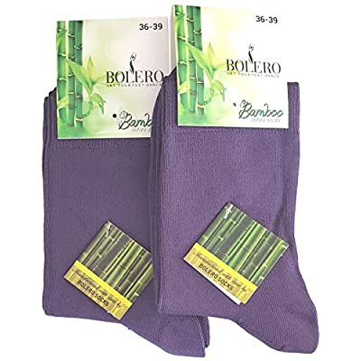 2 Pairs Bamboo Casual Crew Socks (Violet) at Amazon Women's Clothing store