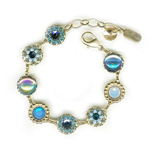 (Clara Beau Exquisite Blue AB Swarovski crystal GoldTone Filigree Cluster Bracelet BF145)