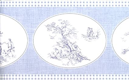 Oval Shaped French Toile Pattern Wallpaper Border Norwall
