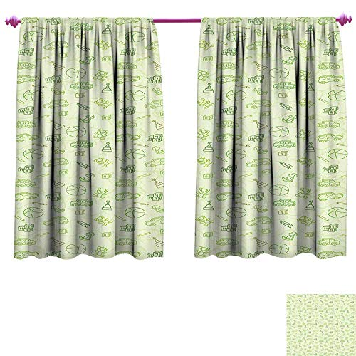 Baby Window Curtain Fabric Cartoon Doodle Drawing Style Funny Infant Toys Balls Cars Teddy Bears Crayons Pattern Drapes for Living Room W96 x L72 Pale Green -